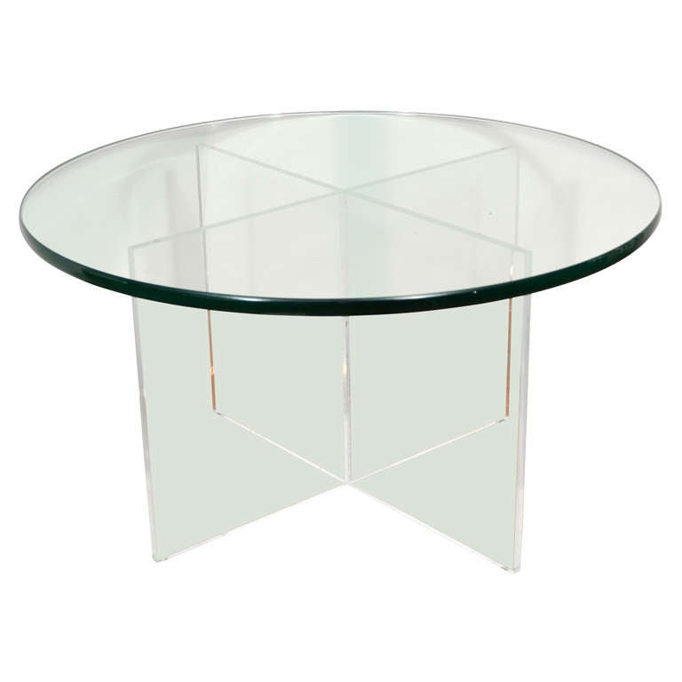Mid Century 30 Round Lucite And Glass Top Coffee Table At 1stdibs