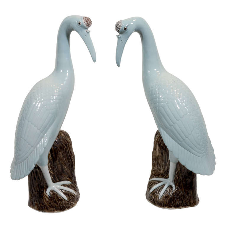 a pair of chinese export cranes at 1stdibs. Black Bedroom Furniture Sets. Home Design Ideas