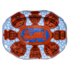 A Large Spode Neoclassical Platter with Red White and Blue