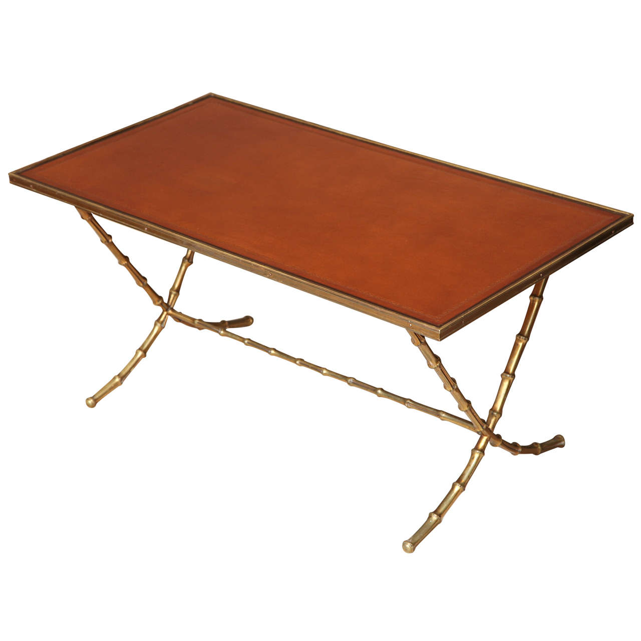 Leather Top Cocktail Table With Faux Brass Bamboo Base C 1950 At 1stdibs
