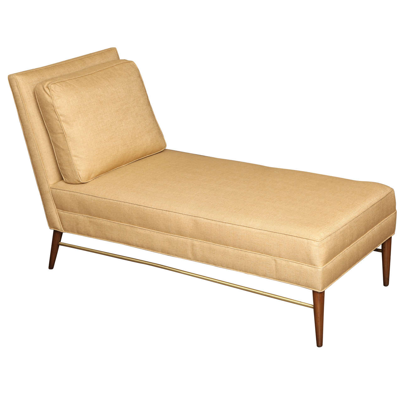 Chaise loungue with brass stretcher by paul mccobb for for Chaise de calvin