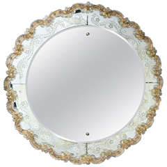Etched Bevelled Circular Mirror with Filigree Applied Border
