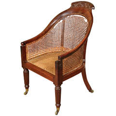 Regency Carved Mahogany Library Bergere