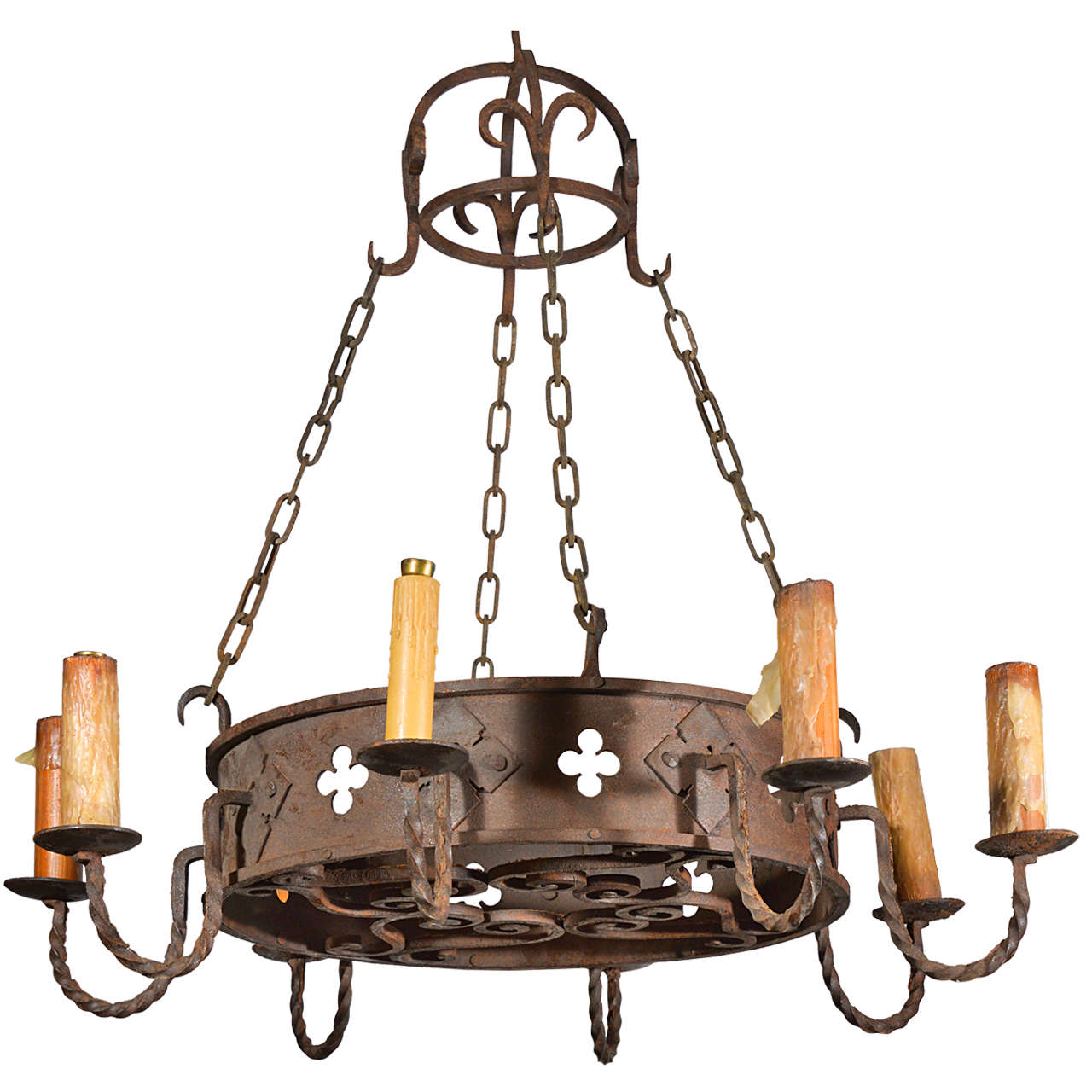 Round antique iron chandelier from france circa 1900 for sale at round antique iron chandelier from france circa 1900 for sale aloadofball