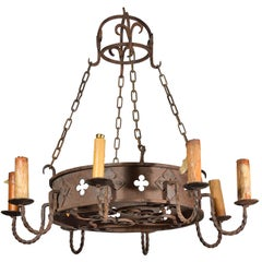 Round Antique Iron Chandelier from France, circa 1900