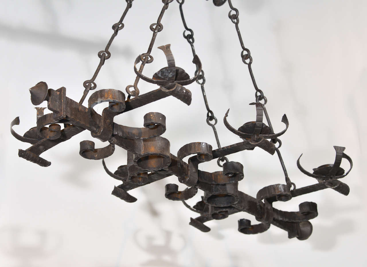 Antique french hand forged six light iron chandelier for sale at antique french hand forged six light iron chandelier in good condition for sale in aloadofball Images