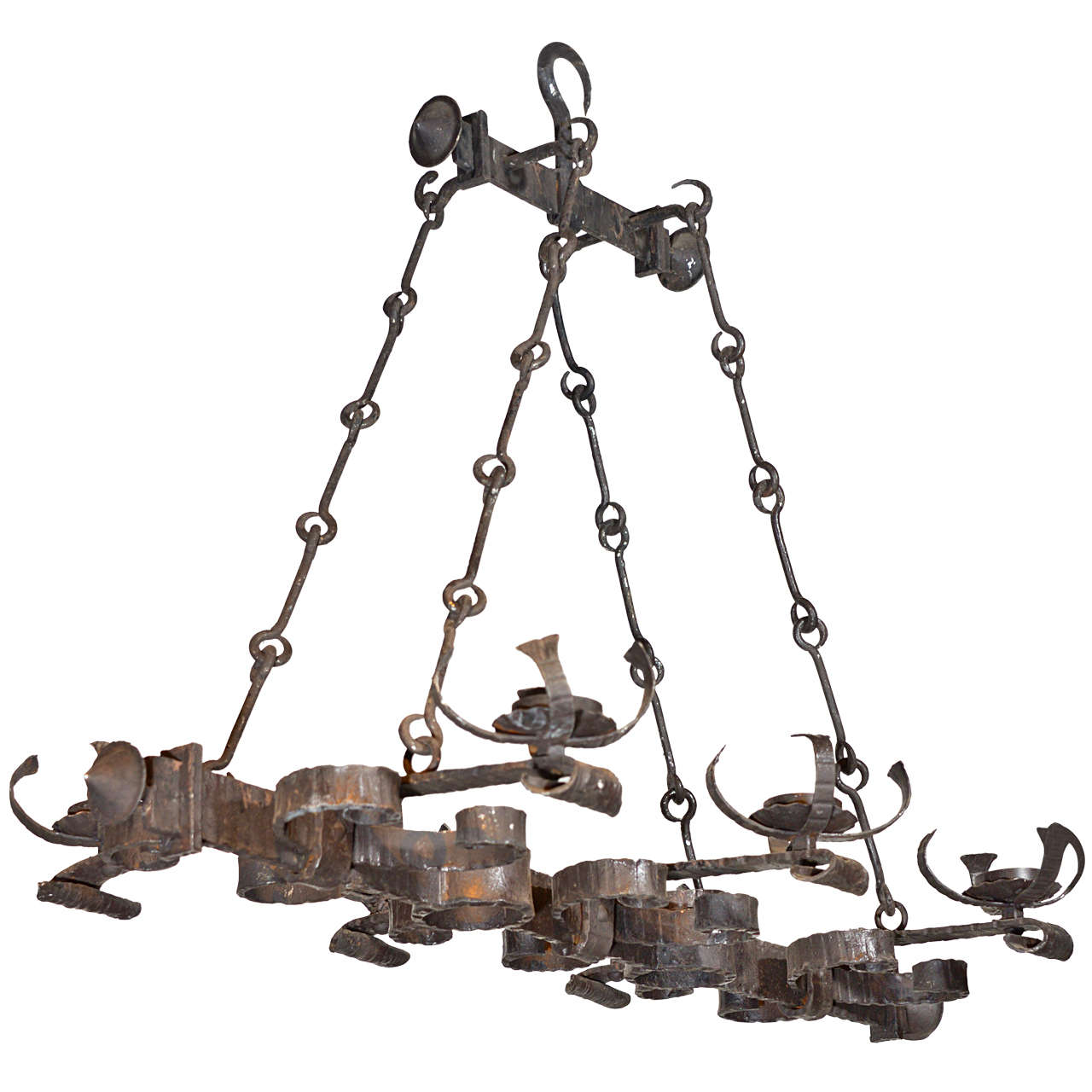 Antique French, Hand Forged, Six Light Iron Chandelier 1 - Antique French, Hand Forged, Six Light Iron Chandelier For Sale At