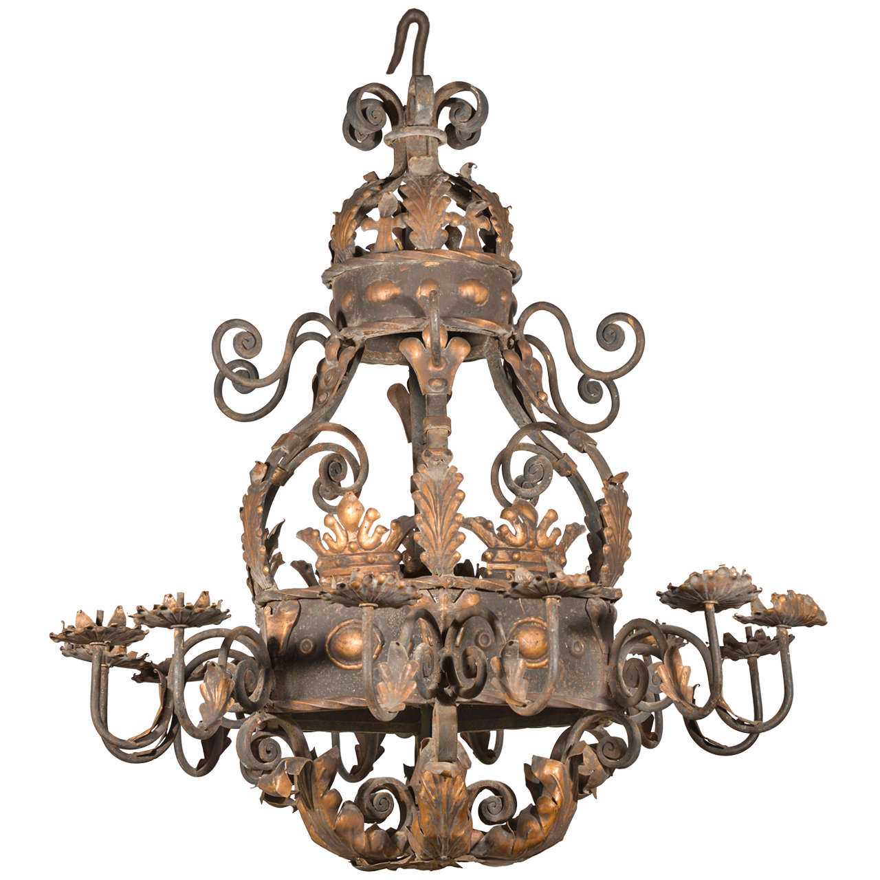 A large acanthus leaf iron chandelier from france at 1stdibs a large acanthus leaf iron chandelier from france arubaitofo Images