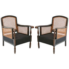 Italian Cane and Hemp Linen Armchairs