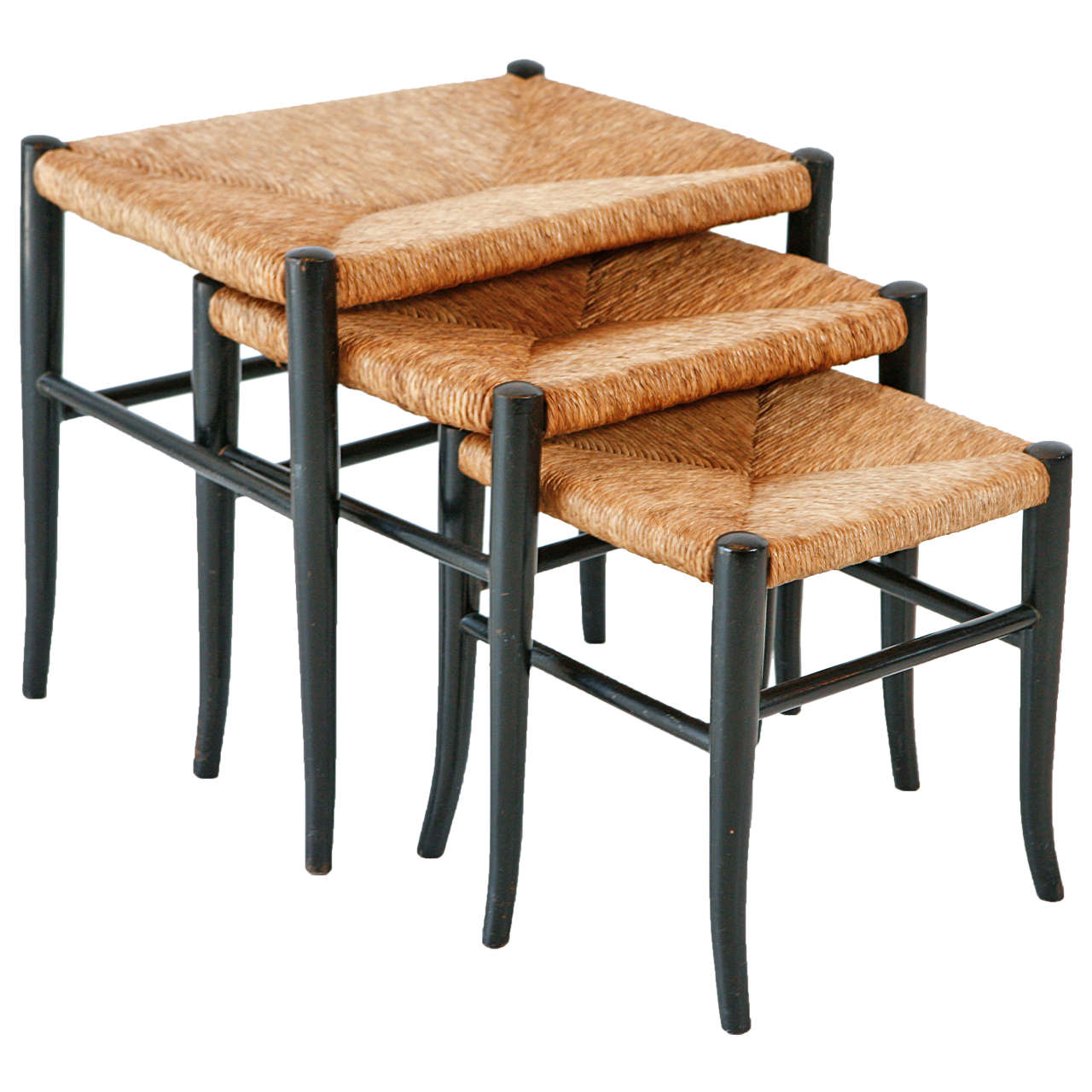 Rush Nesting Stools With Black Curved Legs At 1stdibs