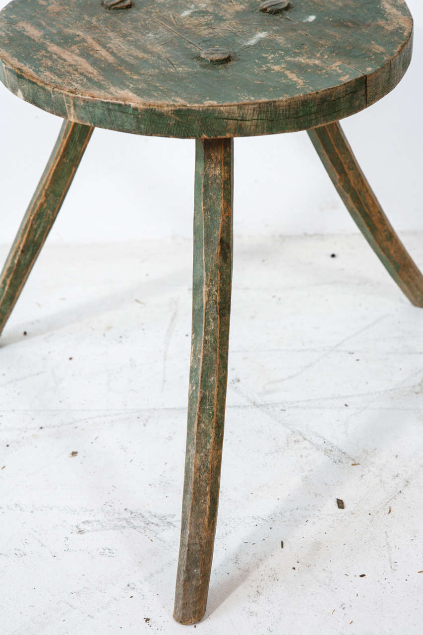 Vintage Round Milking Stool With Curved Legs At 1stdibs