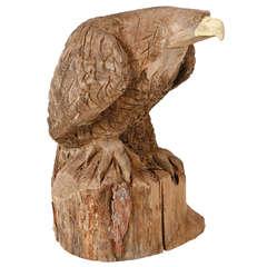 Large Carved Primitive Bald Eagle Sculpture