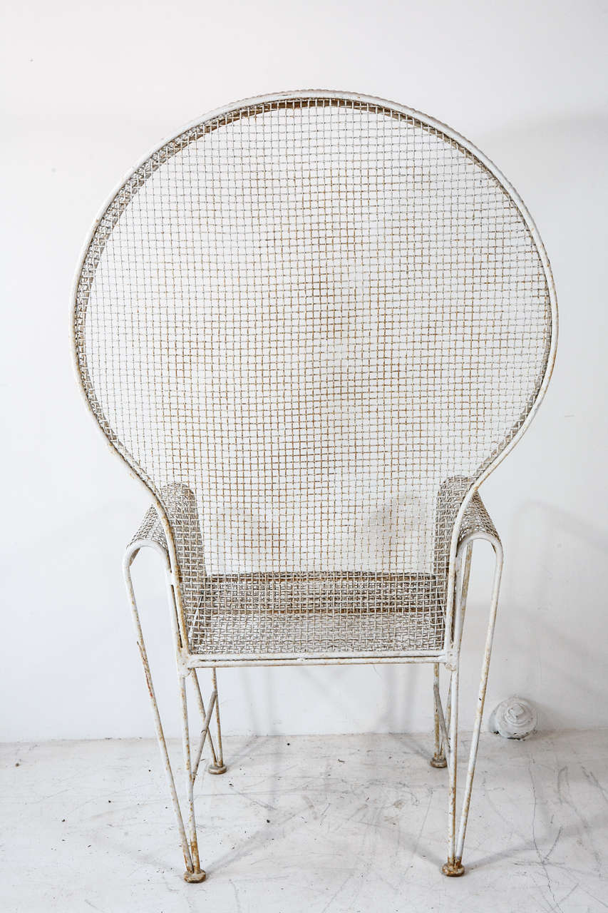 Pair of Hooded Wire Outdoor Chairs at 1stdibs