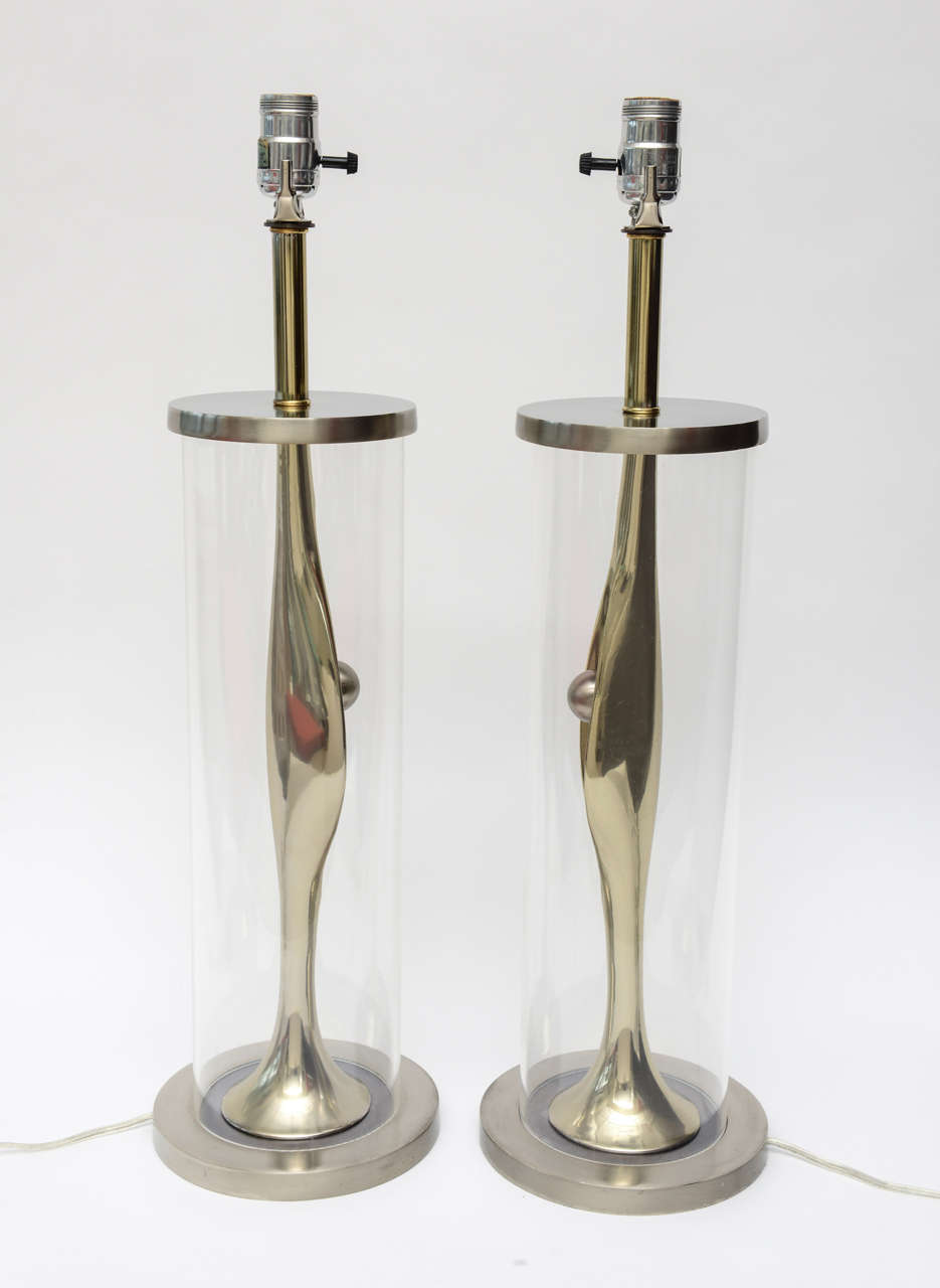 American Laurel Sculptural Mixed Metal and Lucite Lamps Mid-Century Modern Pair of For Sale
