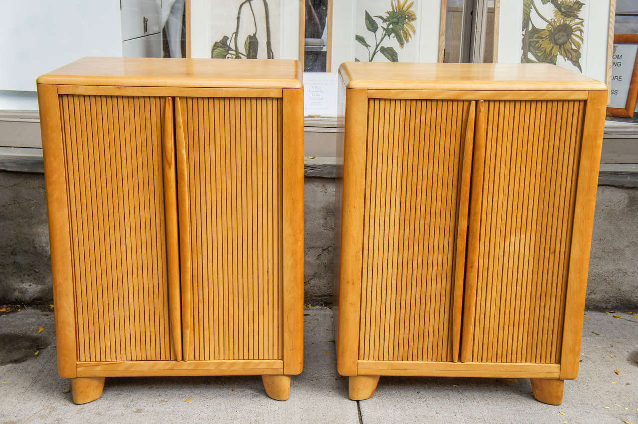 A Pair Of Rare Heywood Wakefield Wheat Tambour Door Cabinets, Stamped On  Reverse