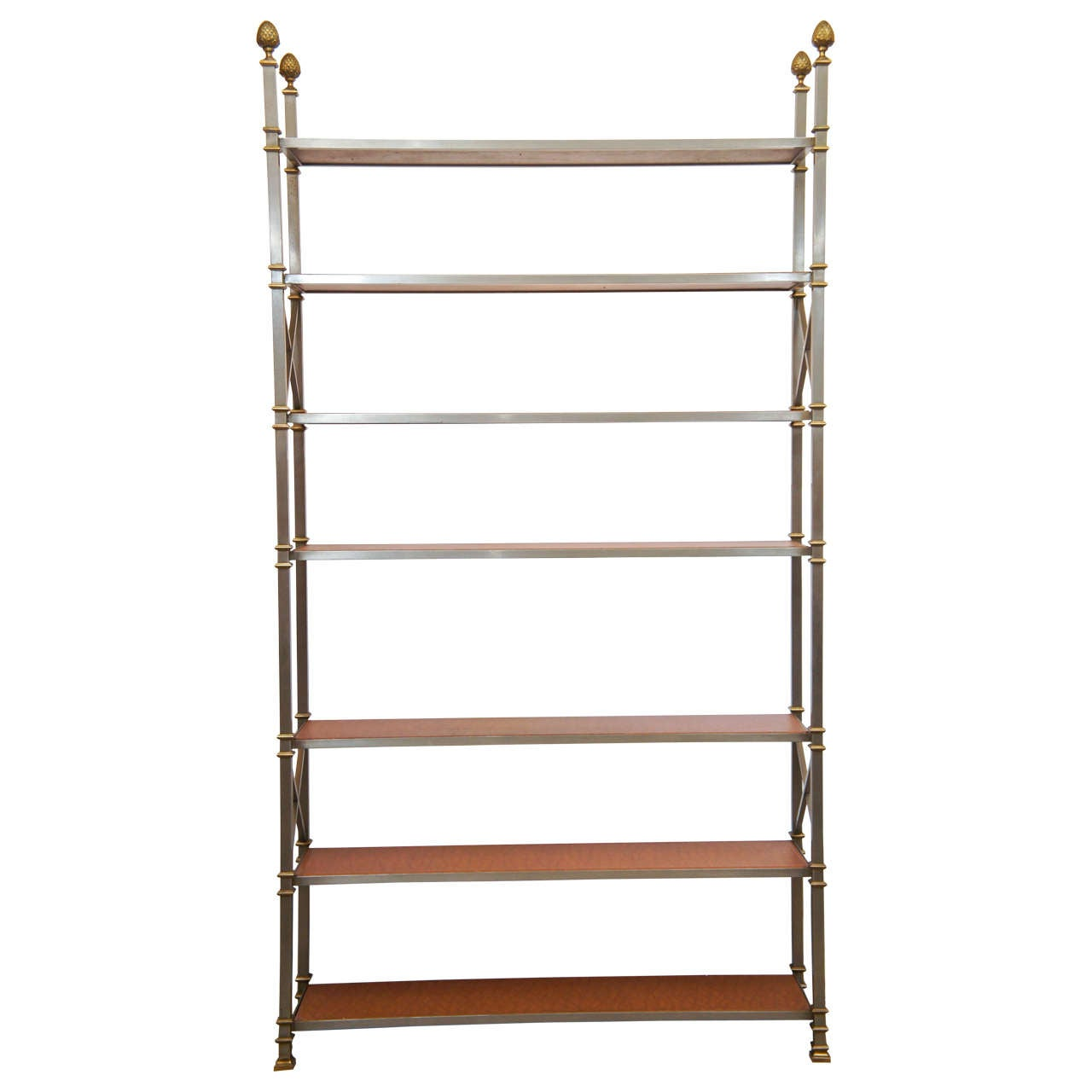 tall maison jansen tag re with brown leather shelves at 1stdibs. Black Bedroom Furniture Sets. Home Design Ideas