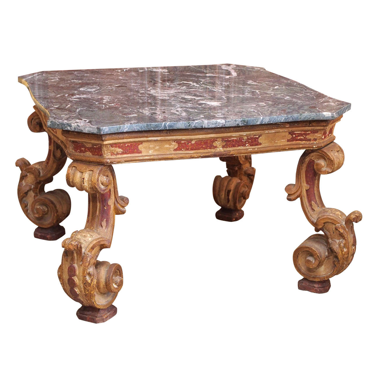 Belle epoch gilded and painted coffee table at 1stdibs Painted coffee table