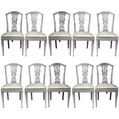 Set of Ten Art Nouveau Swedish Painted Dining Chairs