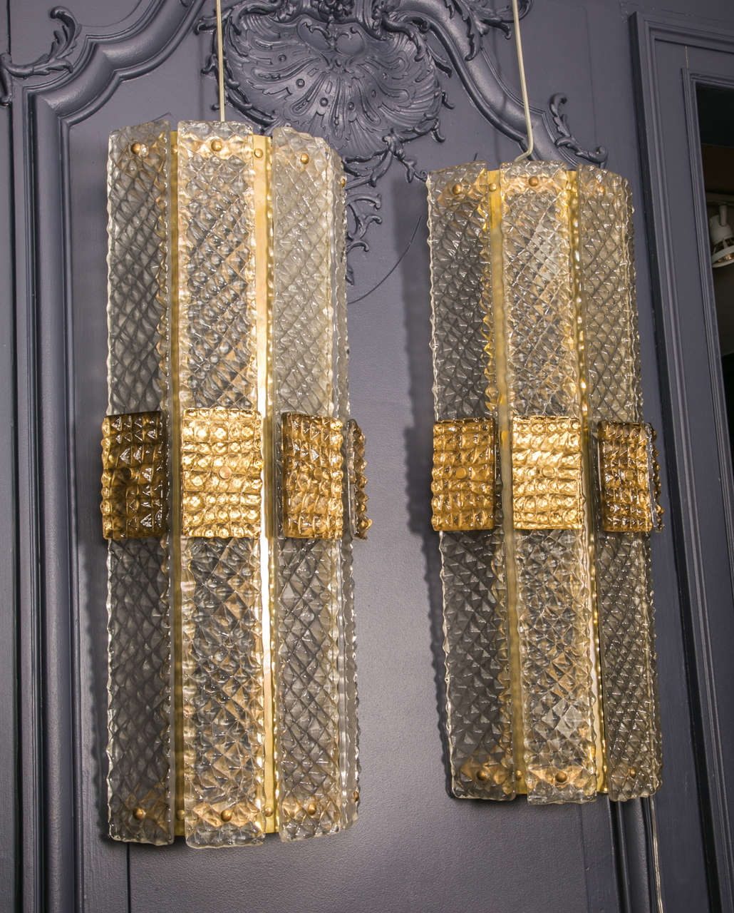 Set of Six Murano Wall Sconces For Sale 2