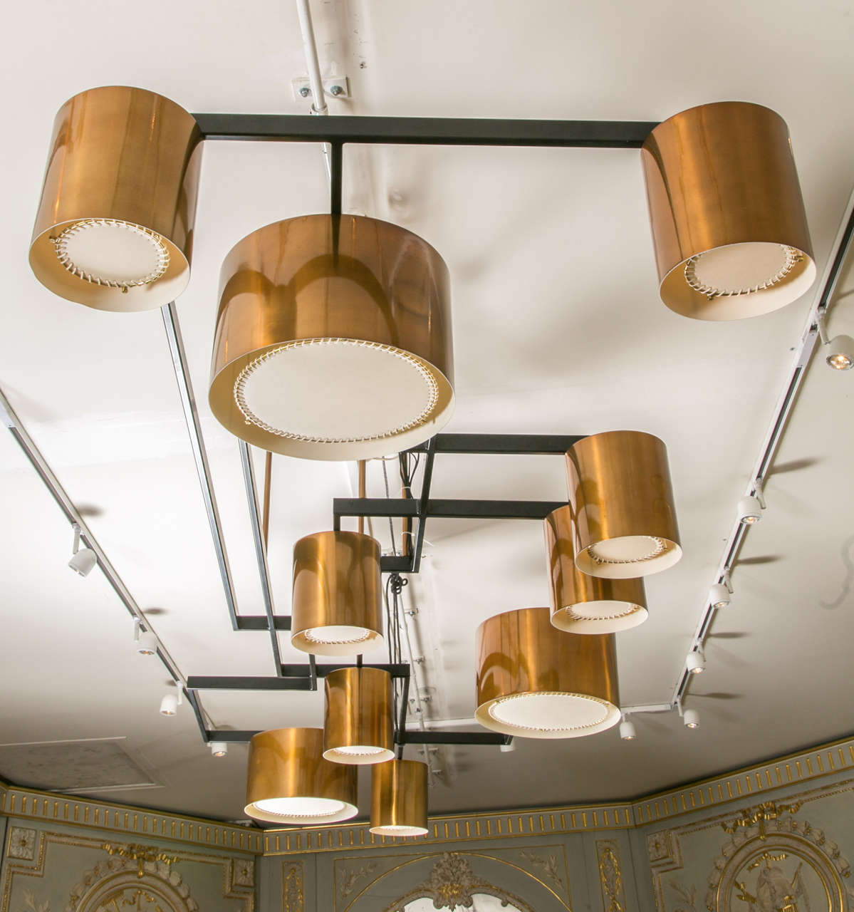 Huge chandelier with 10 copper shades, totally rewired, prototype realized by an architect