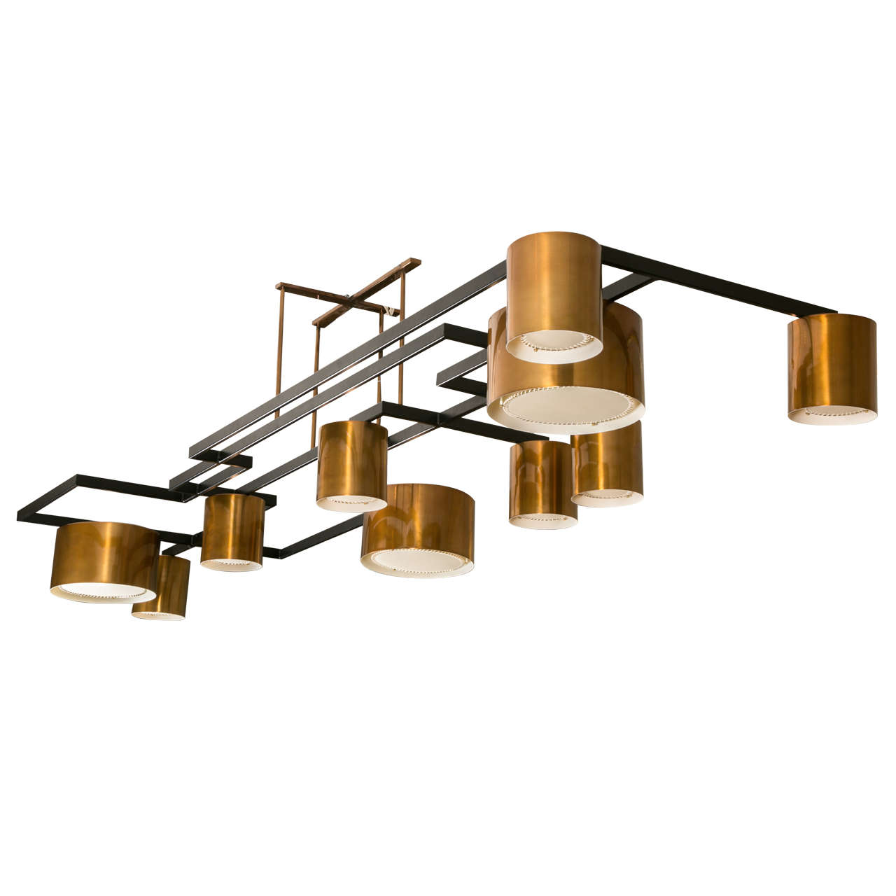 Large Modernist Copper Chandelier For Sale