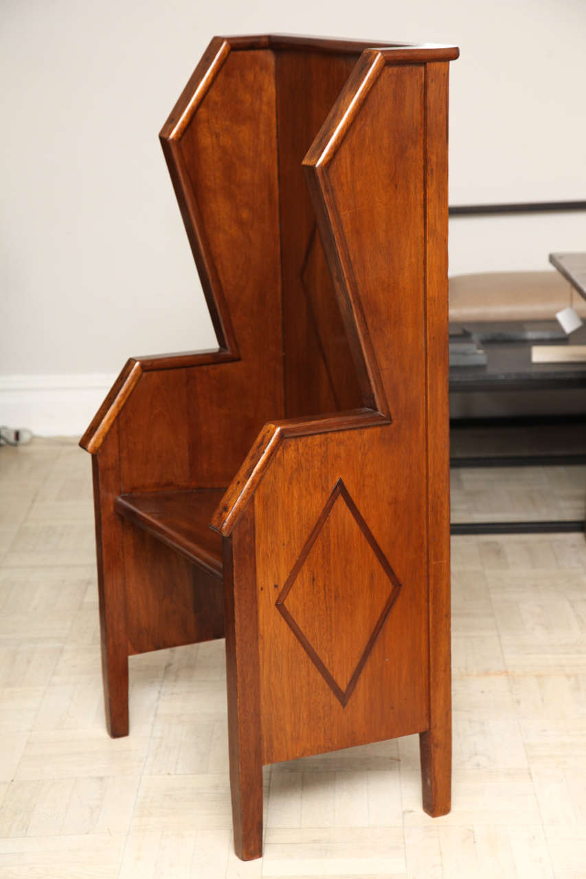20th Century Settle Bench, Geometric Wings In Good Condition For Sale In New York, NY