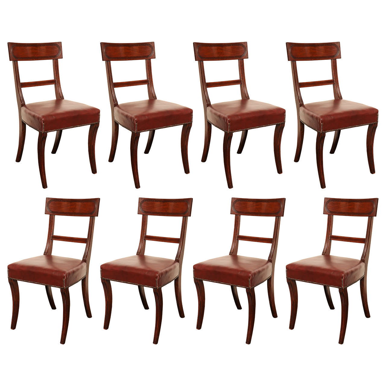 Set of Eight 19th Century English Neoclassical Dining Chairs