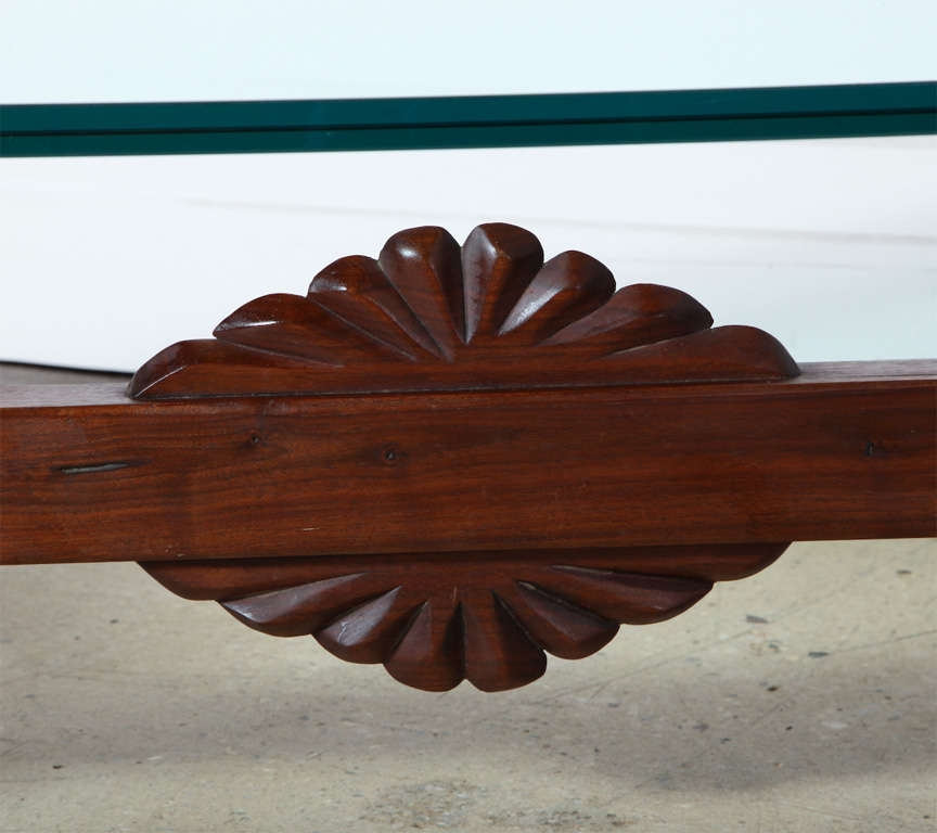 American Craftsman Phillip Lloyd Powell Sculpted Black Walnut, Cherry and Glass Coffee Table, 1960s For Sale