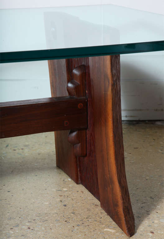American Phillip Lloyd Powell Sculpted Black Walnut, Cherry and Glass Coffee Table, 1960s For Sale