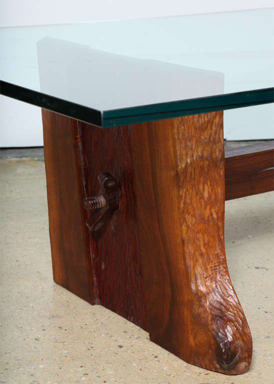 Phillip Lloyd Powell Sculpted Black Walnut, Cherry and Glass Coffee Table, 1960s In Good Condition For Sale In Bainbridge, NY