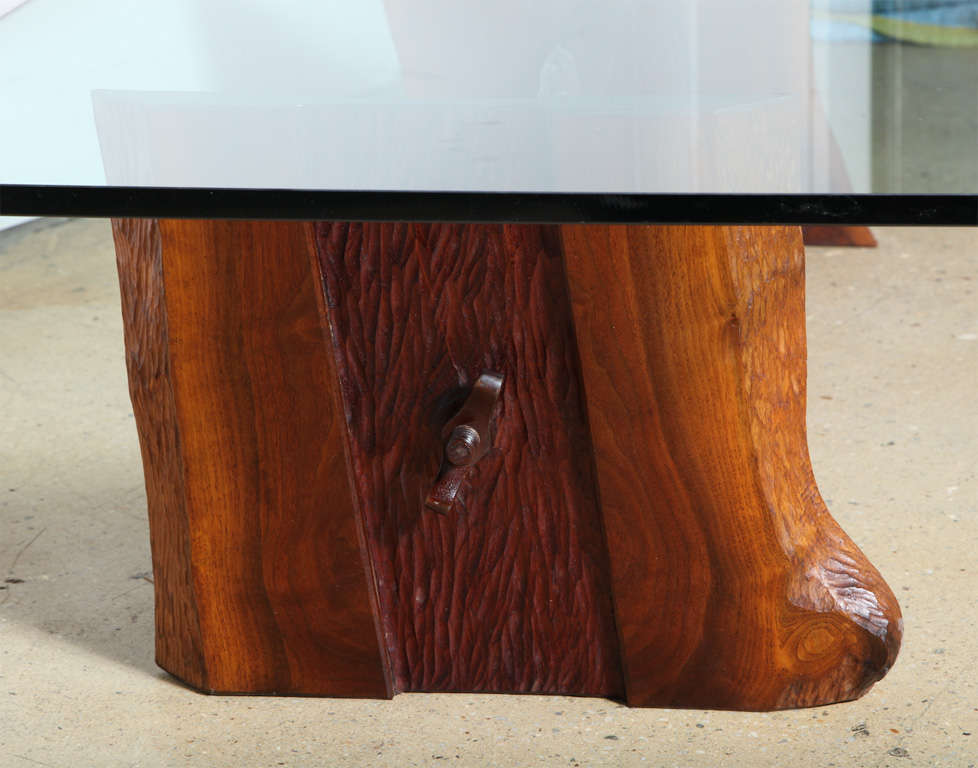 Mid-20th Century Phillip Lloyd Powell Sculpted Black Walnut, Cherry and Glass Coffee Table, 1960s For Sale