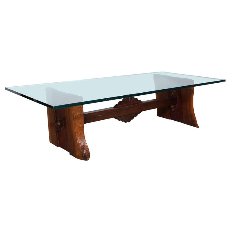 Phillip Lloyd Powell Sculpted Black Walnut, Cherry and Glass Coffee Table, 1960s For Sale