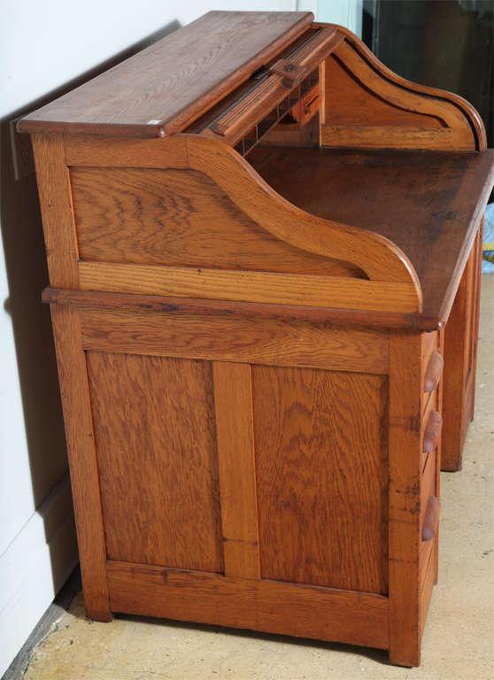 Victor Safe And Lock Oak Roll Top Desk At 1stdibs