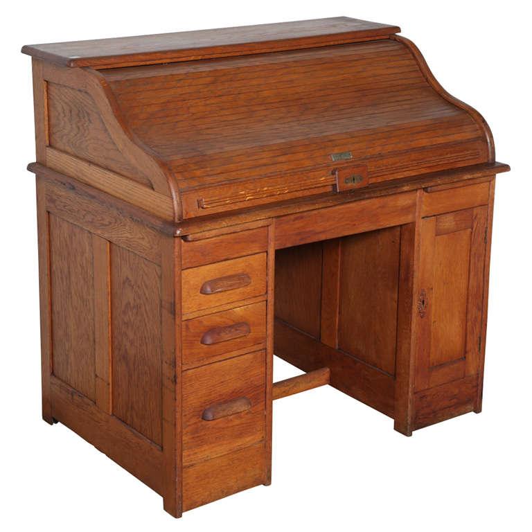 Victor Safe Lock Oak Roll Top Desk For