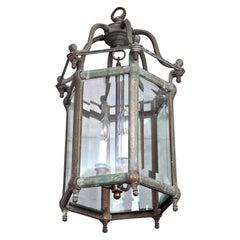 English Regency-Style Bronze Center Hall Lantern