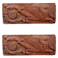 Pair of Opposing Terracotta Cast Stone Griffin Wall Plaques