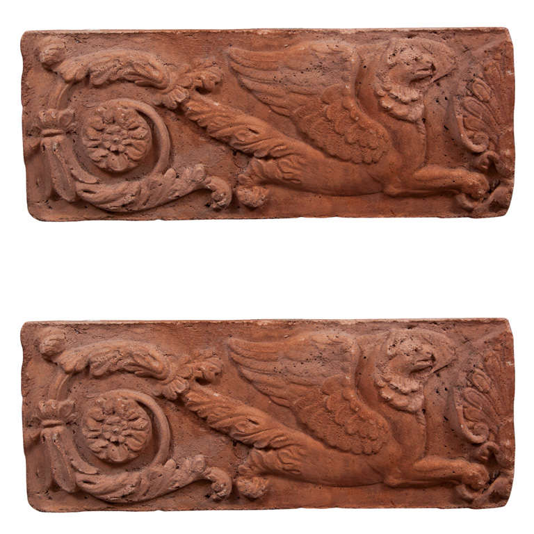 Pair of Opposing Terracotta Cast Stone Griffin Wall Plaques 1