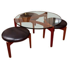 Iconic Sven Ellekaer Coffee Table and Rare Matching Stools at 1stdibs