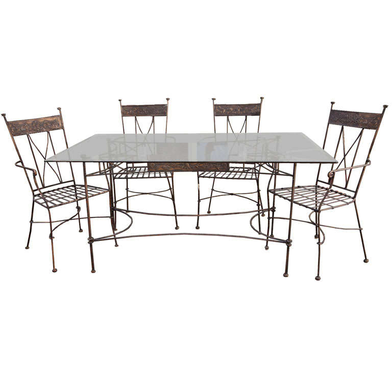 Wrought Iron Dining Table With 5 Armchairs At 1stdibs