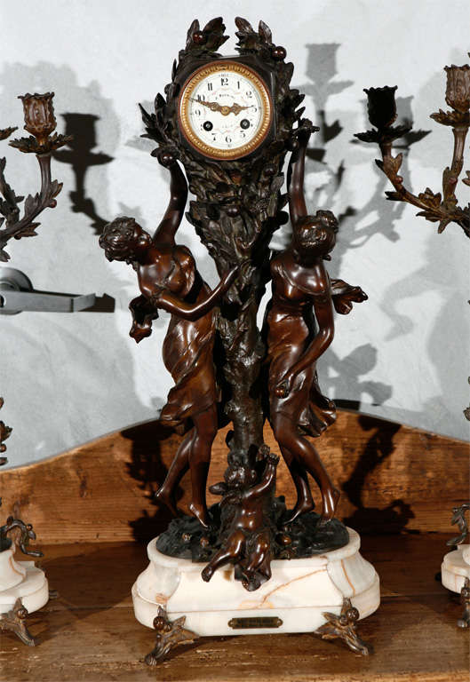 Large Antique French Clock Set with Pr of Candelabra 2