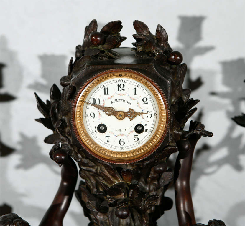 Large Antique French Clock Set with Pr of Candelabra 4