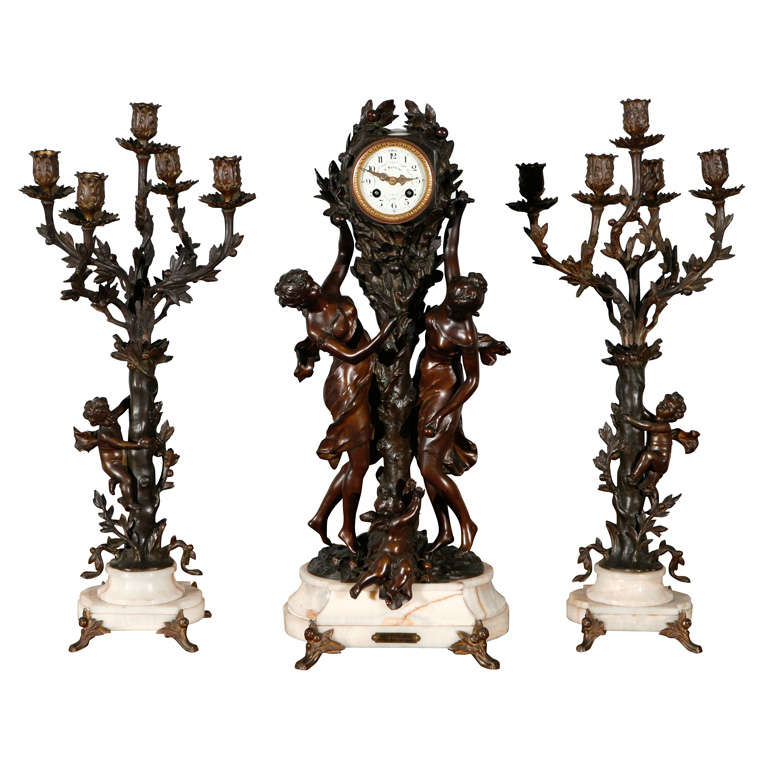 Large Antique French Clock Set with Pr of Candelabra 1
