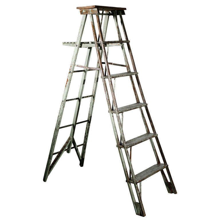 Vintage Painted Ladder as a Display Stand For Sale at 1stdibs