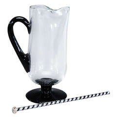 Handblown Art Deco Black and Crystal Martini Pitcher with Stirrer