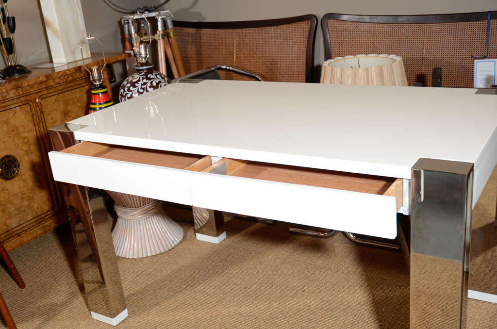 White Lacquer And Chrome Desk By Thomas O 39 Brien For Hickory Chair At 1stdibs
