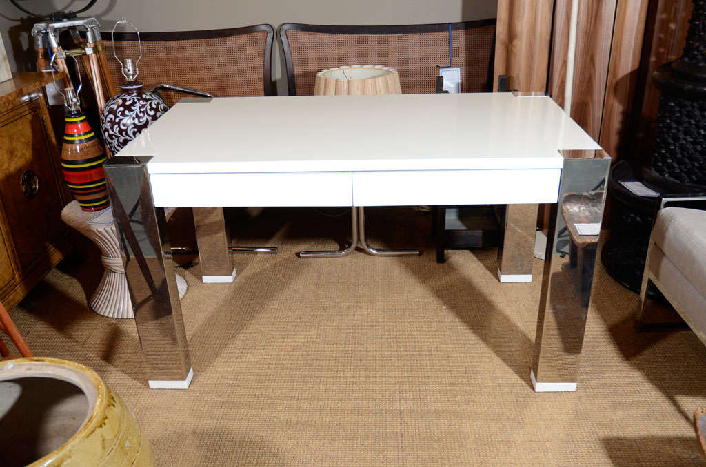 White Lacquer And Chrome Desk By Thomas O Brien For