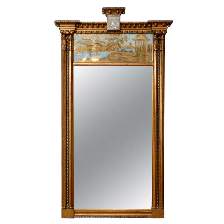 Regency Trumeau Mirror with Blue and Gold Outdoor Scene