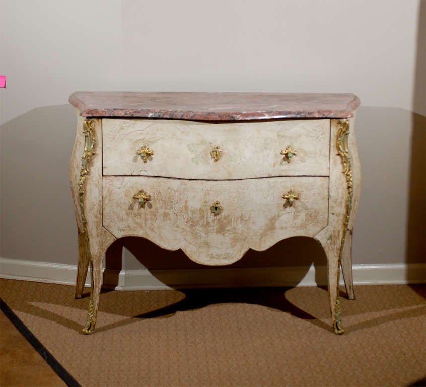 Louis XV Antique French Bombe Commode Chest Rose Marble, circa 1840 For Sale