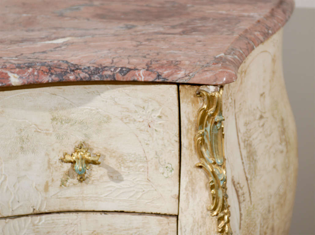 Ormolu Antique French Bombe Commode Chest Rose Marble, circa 1840 For Sale
