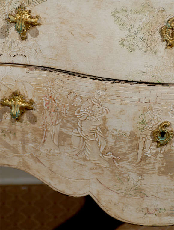 Antique French Bombe Commode Chest Rose Marble, circa 1840 For Sale 1
